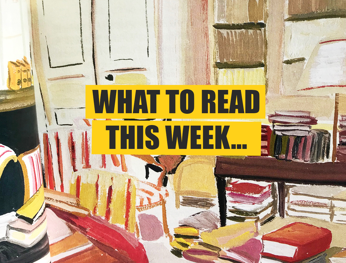 painting of books in a room for article 'what to read'