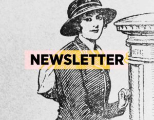 woman putting letter in postbox newsletter