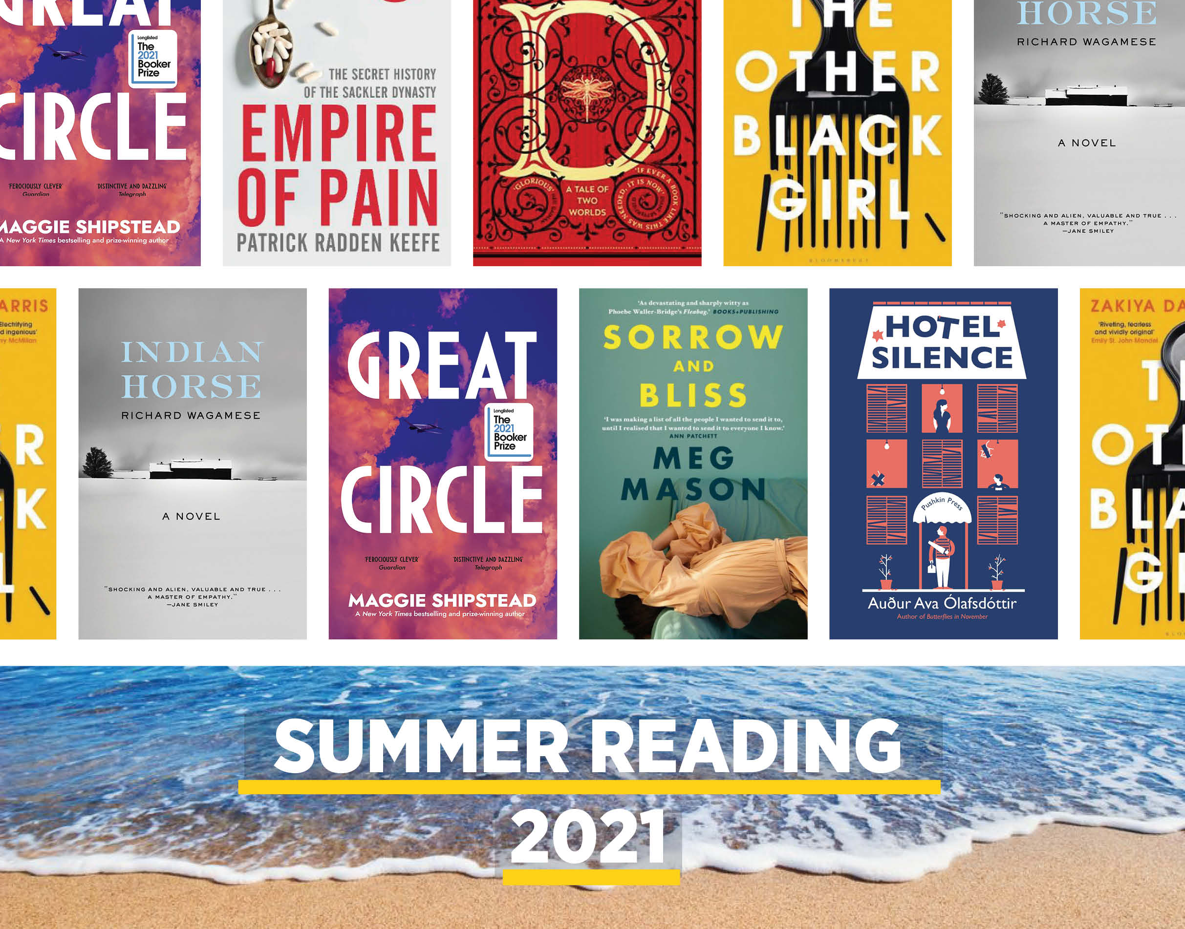 summer reading montage of book covers